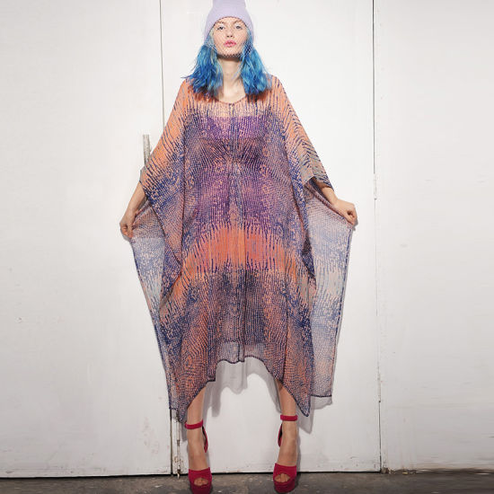 Quality Plus Size Chiffon Print Kaftan Dress with Batwing Sleeves