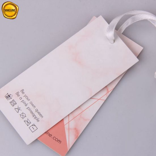 Sinicline Custom Marble Pink Printing Swimwear Hang Tag Swing Tag