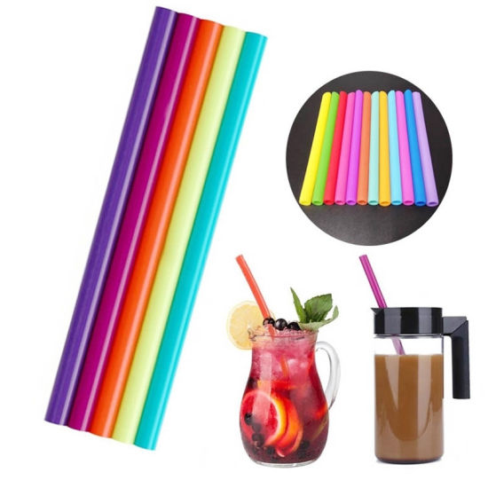 Heat Resistant Reusable Silicone Straight Drinking Straws with Cleaning Brushes pictures & photos