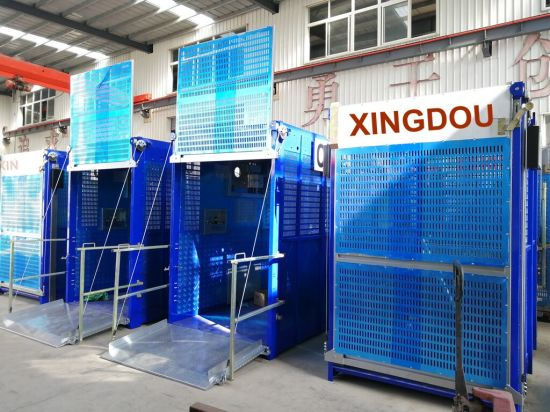 Sc200/200 Rack-and-Pinion Three-Drive Double-Cage Construction Hoist Elevator