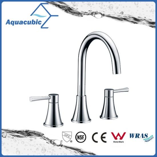 China Watersense Aquacubic Three Hole Bathroom Brass Basin Water ...