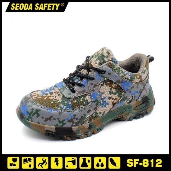 Camouflage Leather Construction Safety Boots with Special Rubber Sole