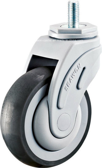 Threaded Stem Medical TPR Casters with Nylon Fork