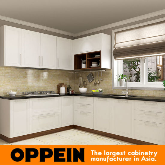 China Oppein Modern Design Lacquer Wood Modular L Shaped Kitchen
