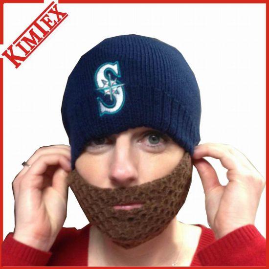 China 100% Acrylic Promotion Knitted Embroidery Beard Beanie - China ... ef655bce9a27
