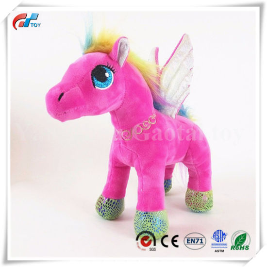 China Pink Pony Stuffed Small Horse Toy With Wings China Plush Toy