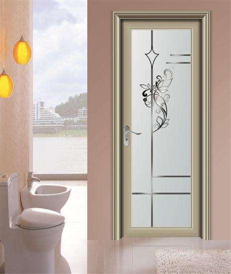 China Double Glazing Wooden Color Interior Aluminium Swing Door