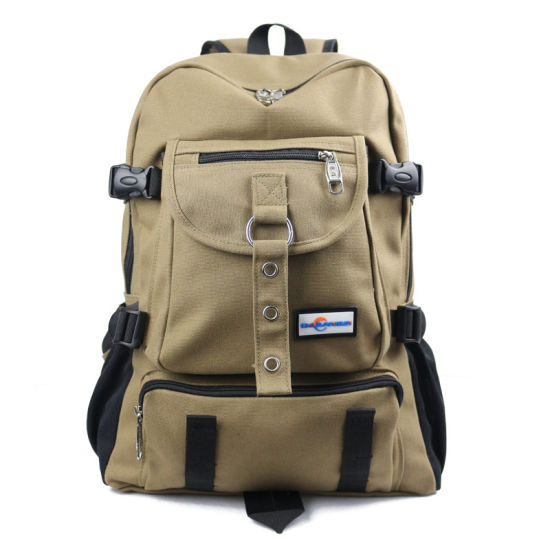 New Fashion Arcuate Shouider Strap Zipper Solid Casual Bag Male Backpack School Bag Canvas Bag Designer Backpacks for Men pictures & photos