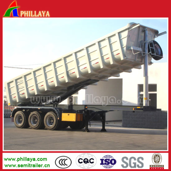 Construction Machinery 3axles Tipper/ Dump Semi Trailer with End Dumping pictures & photos