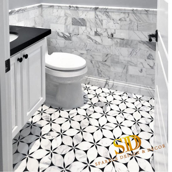 Waterjet White And Black Marble Mosaic