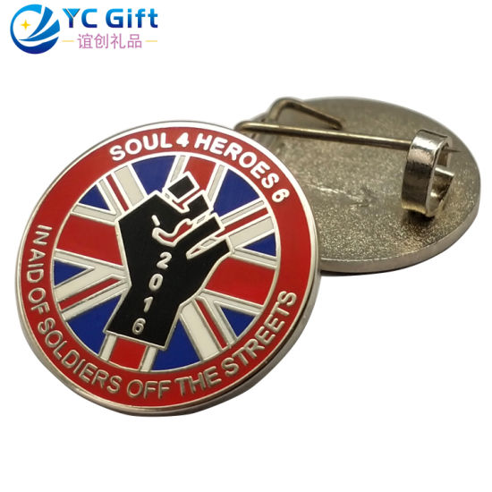 China Factory Custom Zinc Alloy Metal Art Crafts Enamel Emblem Fashion UK National Flag Badges Military Police Award Lapel Pin for Clothing Decoration (LP06)