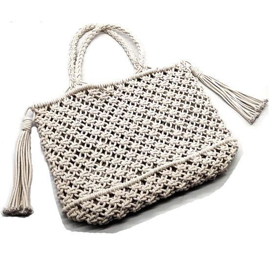 Newest Factory Wholesale Handmade Rope Woven Bag Women Retro Tassel Clutch Bag