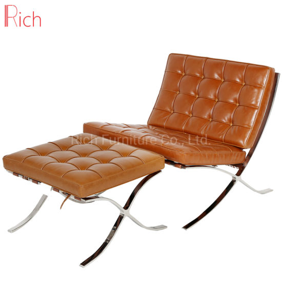 Classic Design Furniture Barcelona Lounge Chair with Ottoman