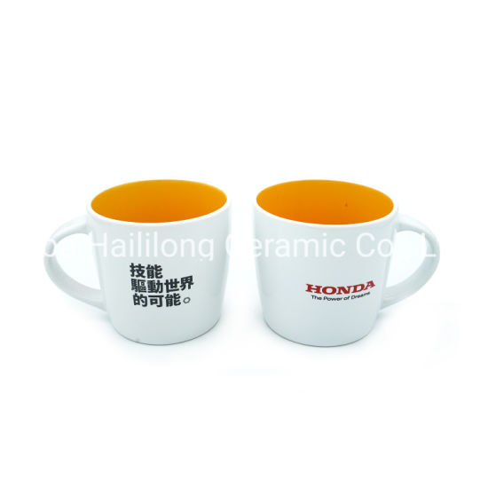 Inner Color Waist Drum Ceramic Cup with Logo