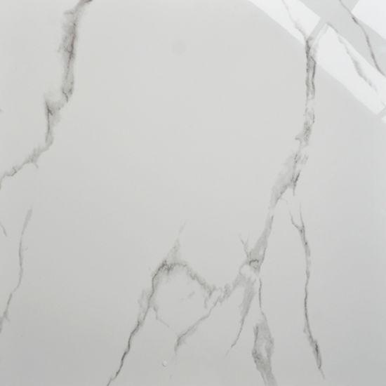 Carara White Glazed Marble Polished Porcelain Floor Tiles Standard Size