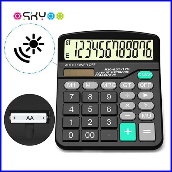 Office Supply 12 Digits Desktop Solar Power Electronic Calculator pictures & photos