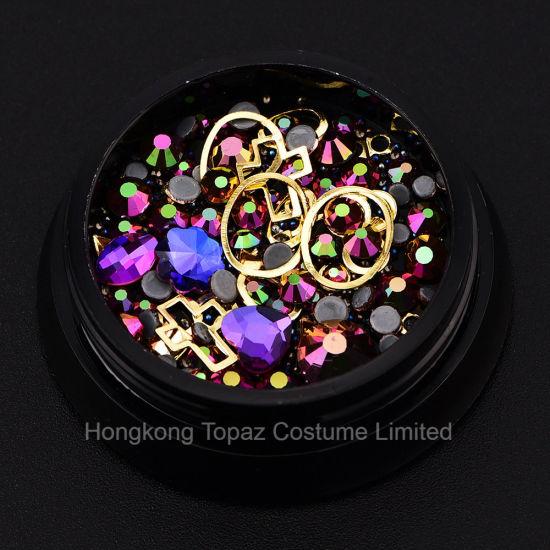 Colorful Jewelry Beads 3D Nail Art Glitter Non Hotfix Rhinestones