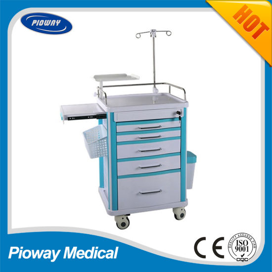 Medical Hospital ABS Mobile Emergency Trolley (PW-703)