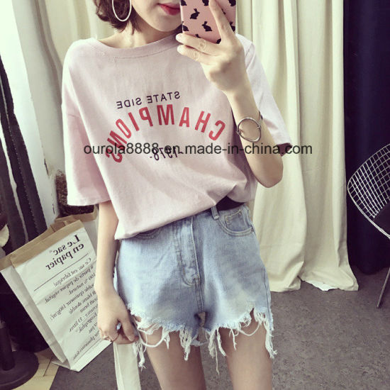 Womens Basic Stlye Printed T Shirt Wholesale pictures & photos