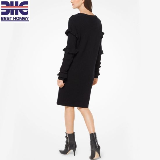 4834f3012ed Women′s Long Sleeve Ruffle Design Wool Knitted Fashion Winter Dresses for  Ladies