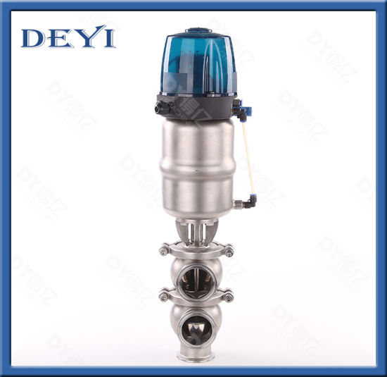 SS316 Stainless Steel Pneumatic Ll Type Reversing Valve with Control Head