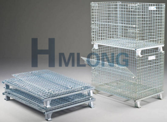 Collapsible Industrial Stackable Metal Wire Mesh Containers pictures & photos