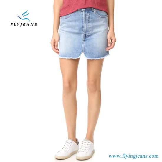 e9faf219fc Monkey Washed Faded Skinny Women Denim Skirts (Jeans Miniskirts E. P. 519)