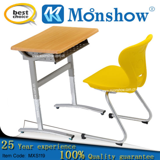 Adjustable Height Student School Desk with Plastic Chair