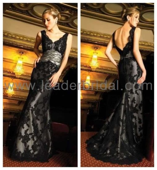 China Mother Of The Bride Dress Silver Sash Black Lace Evening