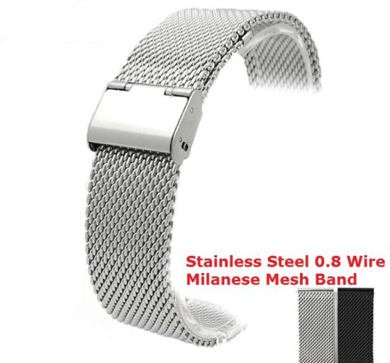 China New Lug Width 18mm 20mm 22mm 24mm Black Silver Stainless Steel ...