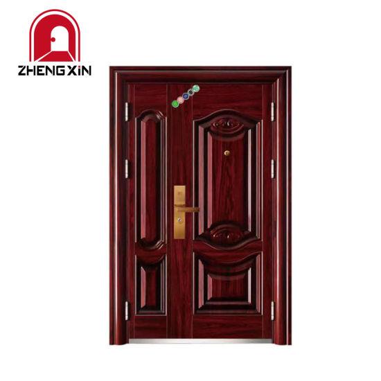 China Outdoor One And Half Double Leaf Door Home Front Door Design China Main Entrance Double Door Designs Security Steel Door