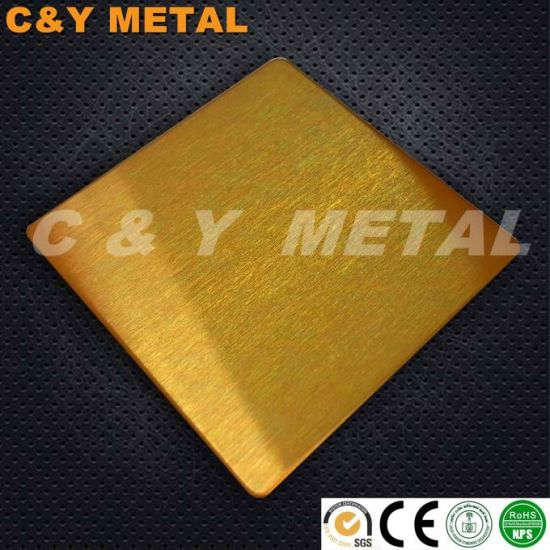 304 Decorative Stainless Steel Sheet with Ti-Gold Coating Colors pictures & photos