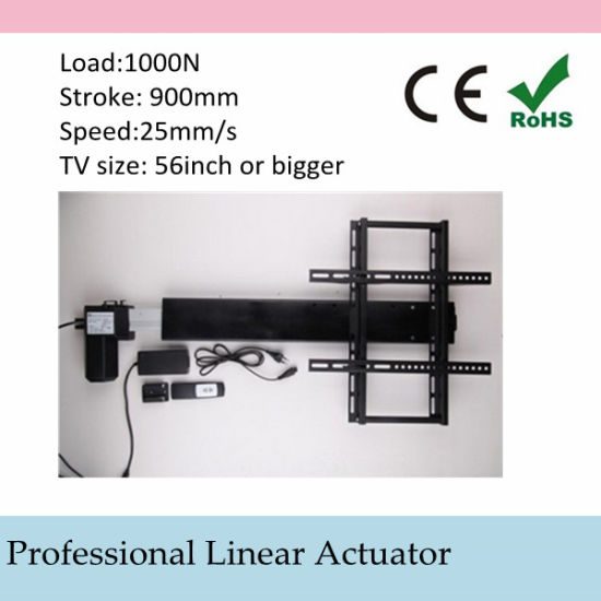 Automatic TV Lift Stands 110-240V AC Input 900mm 36inch Stroke Linear Actuator Full Set with Remote and Controller and Mounting Parts pictures & photos