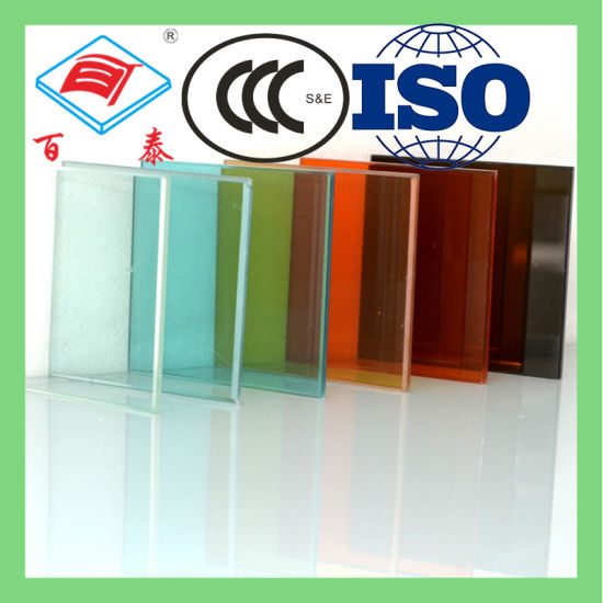 Custom Size Strengthened Tempered Reflective Stained Crystal Hot Melt Green Colored Tinted Building Glass