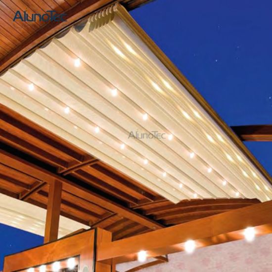 Curving Retractable Sunshade Outdoor Roof With LED Lights