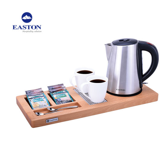 Hotel Electric Kettle with Wooden Amenity Tray