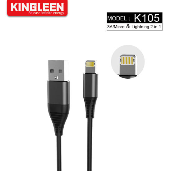 Quick Charge 3A Lightning Micro 2in1 USB Charging Data Cable