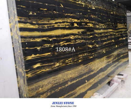 Natural Stone Polished Black White Stripe Gold/Golden Lines Silver Dragon Marble for Flooring/Wall Tiles Paving