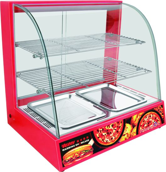Curved Glass Warming Display Showcase, Hot Food Warmer Display Showcase pictures & photos