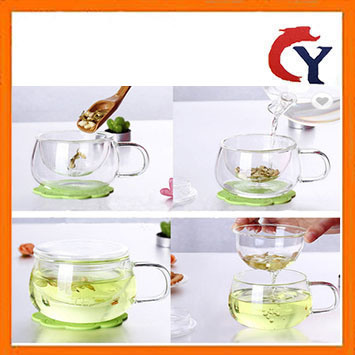 Coffee Tea Mugs Clear Glass Cup Set Infuser Filter Lid Transparent Water Cups