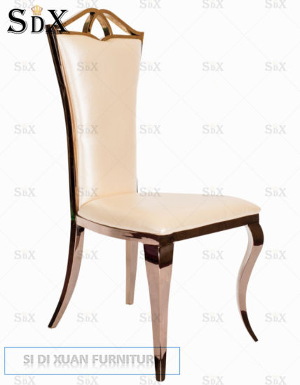 Classic Design Rose Goldenn Stainless Steel Banquet Restaurant Dining Chair