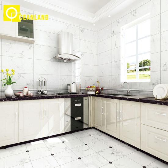 Simple Style Kitchen Wall Firebrick Glazed Porcelain Tile
