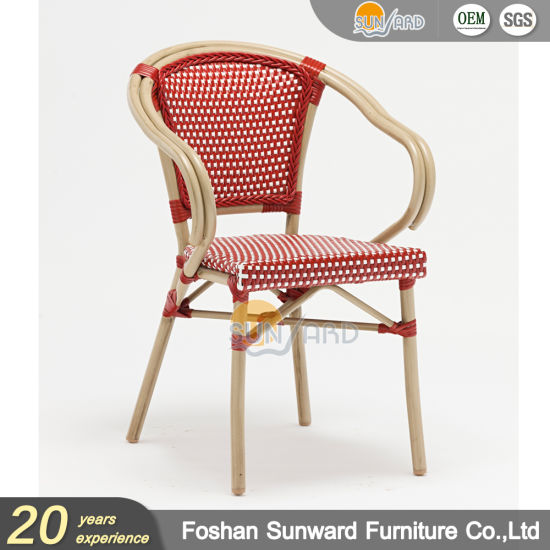Wholesale Outdoor Leisure Patio Resort Hotel Restaurant Balcony Aluminum Weaving PE Wicker Rattan French Bistro Chair Furniture