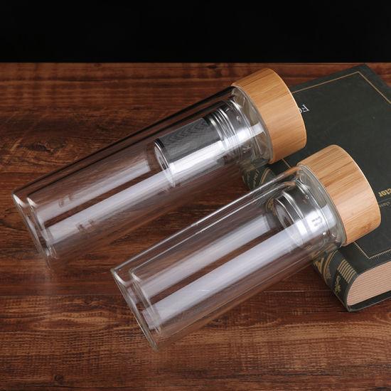 Navaris Glass Water Bottle 500ml - Double Wall Borosilicate Glass Tea Bottle with Stainless Steel Infuser, Bamboo Lid, Non-Slip Neoprene Sleeve 2020
