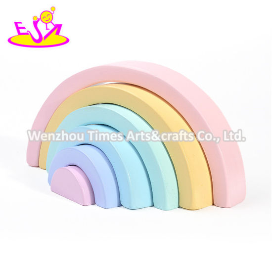 2019 High Quality Educational Toys Wooden Rainbow Stacking Blocks for Kids W13D230 pictures & photos