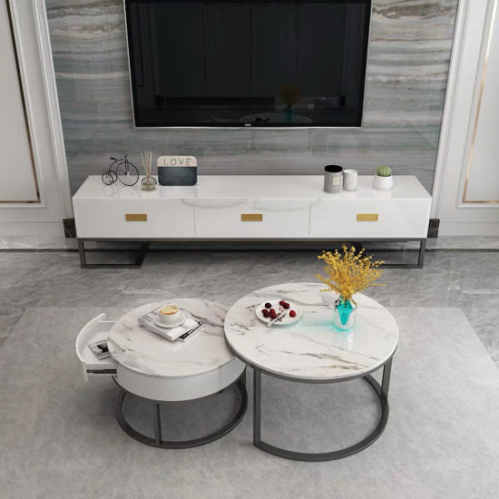 Modern Home Furniture Tempered Glass Tea Table Marble Coffee Table