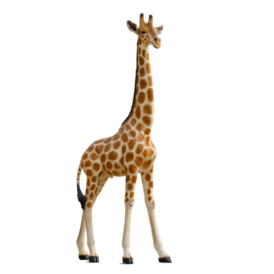 Hand Crafted Fiberglass Material Realistic Life Size 2 M Animal Giraffe Statue for Party Decoration