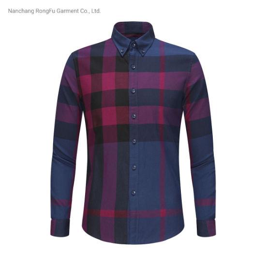 Long Sleeve Plaid Shirt Men's Fashion Casual Lapel Shirt