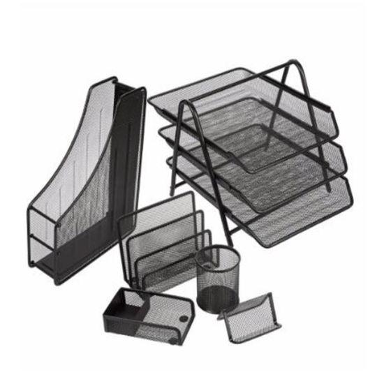 Table Desktop Iron Steel Metal Mesh Office Desk File Organizer