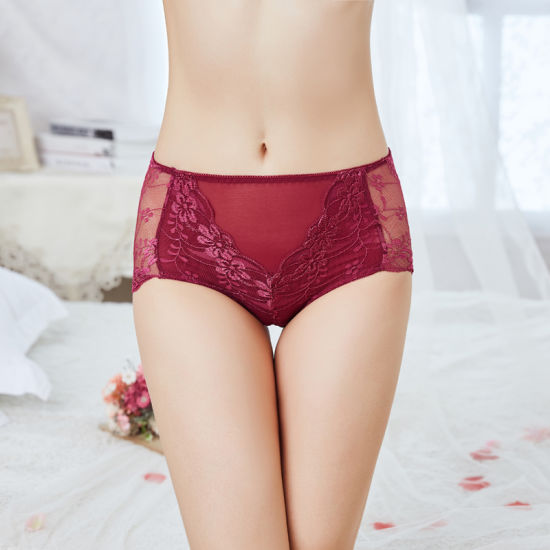 Sexy and Indentation High Waist Cotton Crotch Lace Underwear